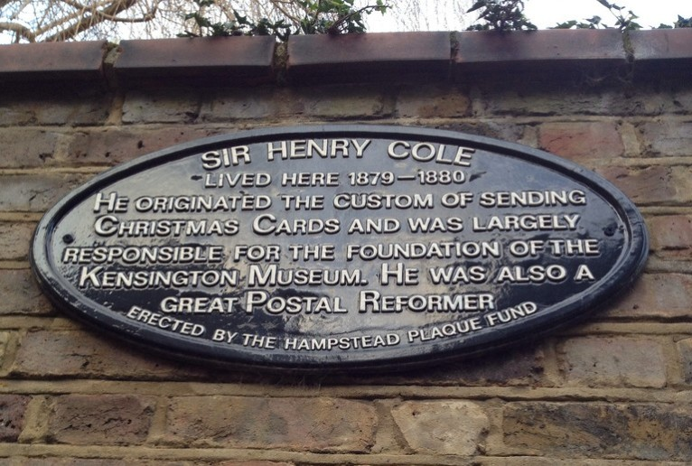 Sir Henry Cole - lived here 1879 - 1880. He originated the custom of sending Christmas cards and was largely responsible for the foundation of the Kensington Museum. He was also a great postal reformer. Erected by the Hamstead Plaque Fund.